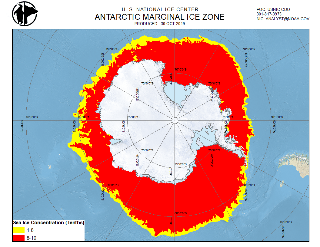 Daily Antarctic Marginal Ice Zone (MIZ) chart