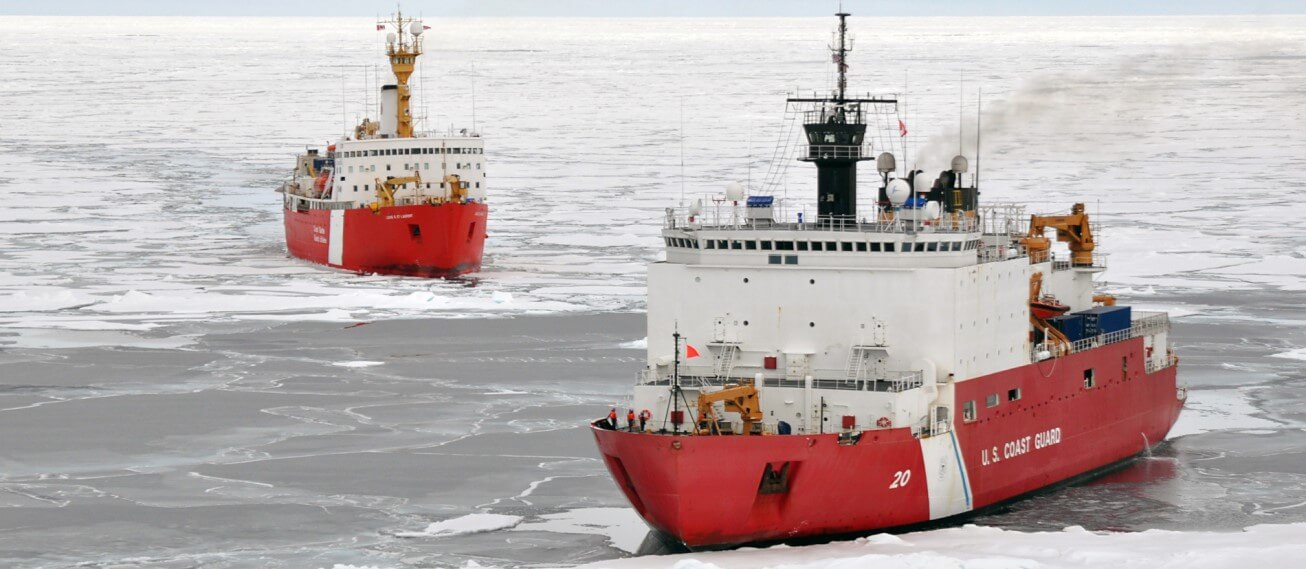 Two U.S. Coast Guard Cutters together in the ice