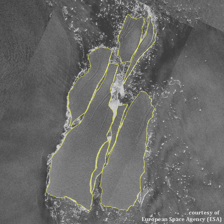 Satellite image of Icebergs A-68J, A-68K, and A-68L