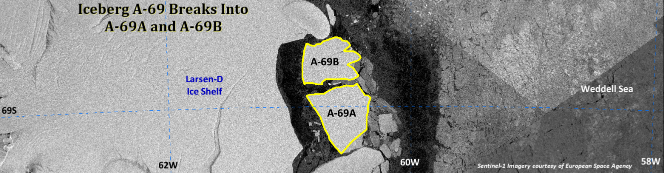 Third Slide, banner of Antarctic iceberg A-69A and A-69B calving