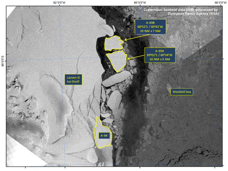 Calving of Iceberg A-69 Into 2 Separate Named Icebergs