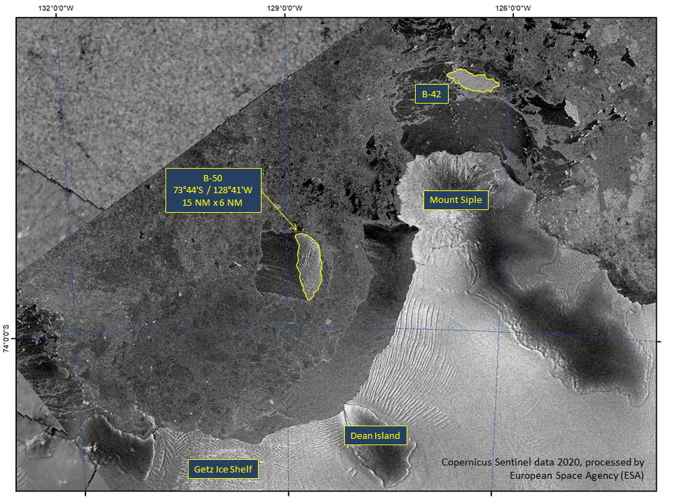 Satellite image of Iceberg B-50