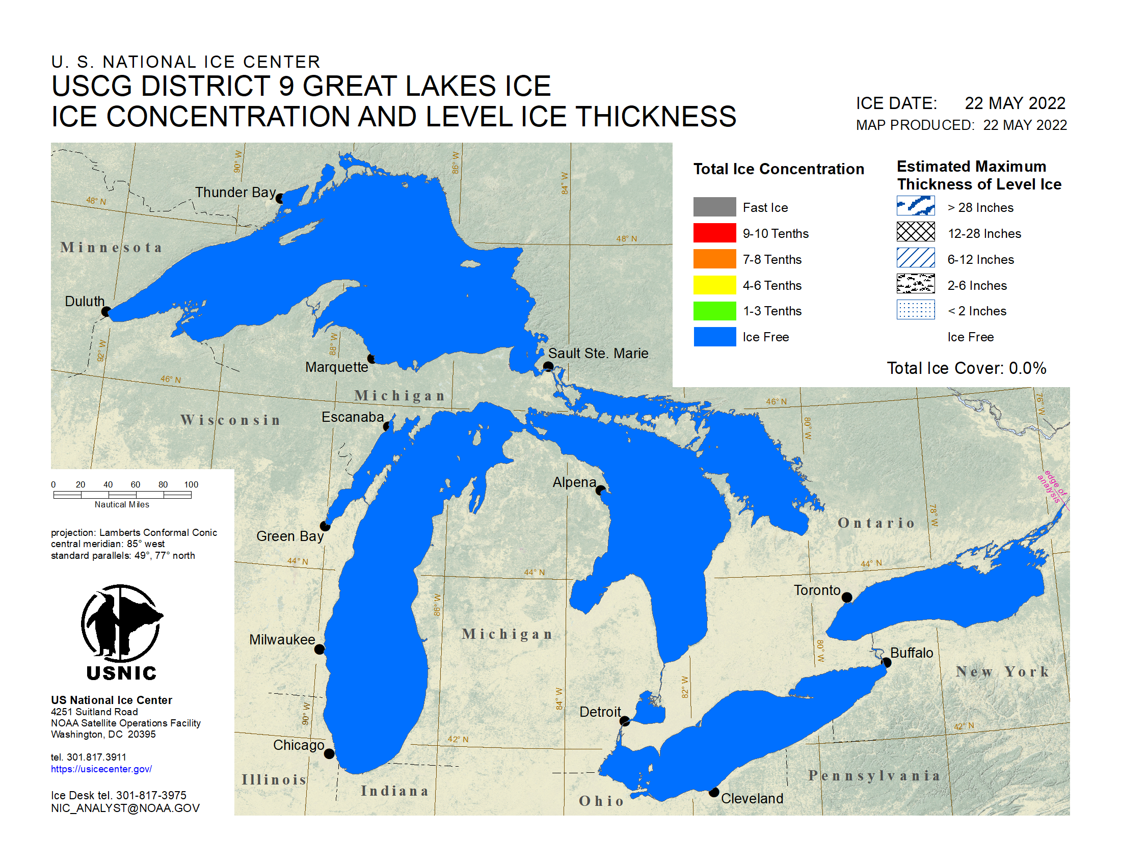Great Lakes Ice Chart (Concentration & Thickness)