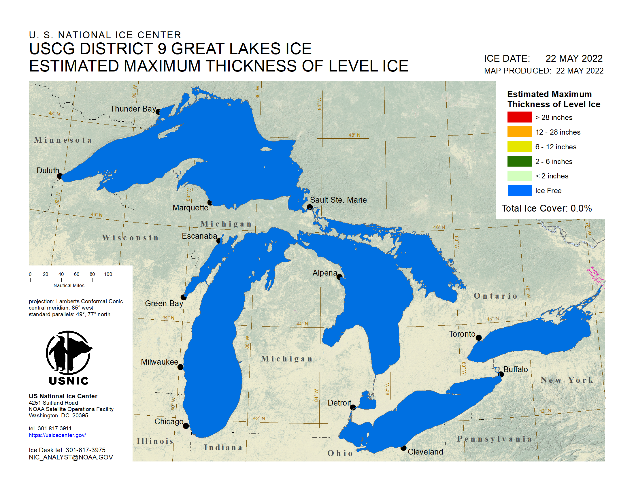 Great Lakes Estimated Ice Thickness in Inches